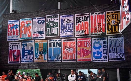 Hatch Show Print created posters for each team, which were featured on the NFL Draft stage at the foot of Broadway Friday, April 26, 2019.