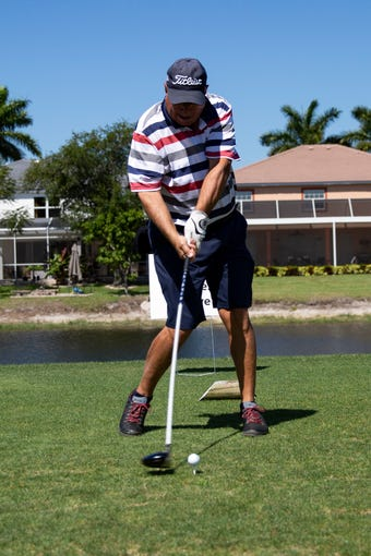 Dom Blasioli attempts the longest drive at the 13th hole during Folds of Honor Day, Saturday, April 27, 2019, at the Arrowhead Golf Club in North Naples.