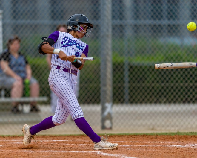 FSW's Rebeca Laudino breaks her bat in a game against Iowa Western at City of Palms Park in March. Laudino recently saw her 49-game hitting streak come to an end. Her streak broke the all-time collegiate record of 44 games, set by Heather Bortz of NCAA Division III school Moravian in 2004.