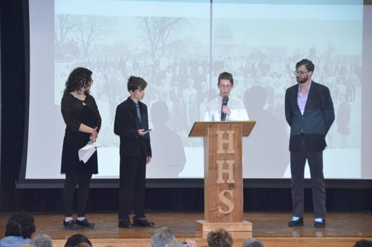 Harold Bloom's grandchildren speak about the longtime Hackensack High School principal at a remembrance ceremony in his honor April 27, 2019.