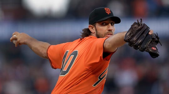 San Francisco Giants pitcher Madison Bumgarner works against the New York Yankees in the first inning of a baseball game Friday, April 26, 2019, in San Francisco.