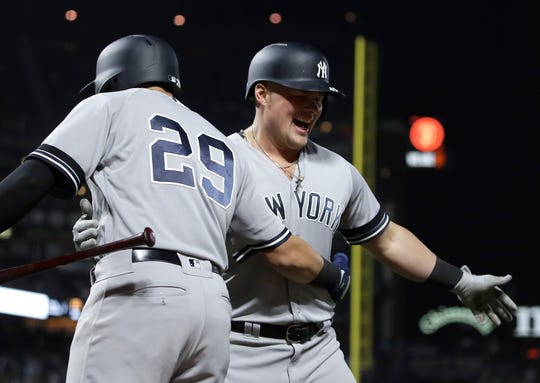 New York Yankees' Luke Voit, right, is congratulated by Gio Urshela (29) after hitting a two run home run off San Francisco Giants' Mark Melancon in the ninth inning of a game Friday, April 26, 2019, in San Francisco.