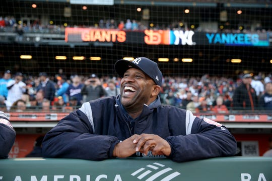 Apr 26, 2019; San Francisco, CA, USA; New York Yankees pitcher CC Sabathia (52) laughs before the start of the game against the San Francisco Giants at Oracle Park.