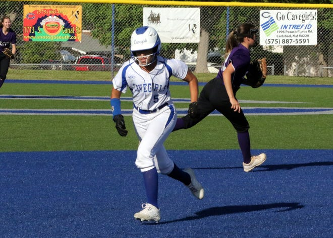 Cavegirl Gabby Aragon runs to third base during Game 1 of Friday's doubleheader against Roswell. Carlsbad swept Roswell, run-ruling them in both games.