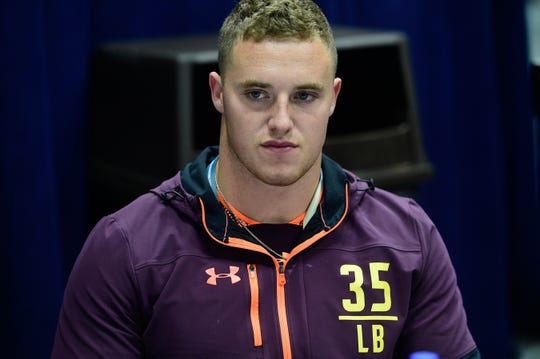 Texas Christian linebacker Ty Summers talks to the media during the 2019 NFL combine at Indianapolis.