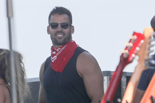 Eric Decker supports his wife, Jessie James Decker, backstage before her performance on the Mane Stage at Stagecoach Festival in Indio, Calif. on Saturday, April 27, 2019.