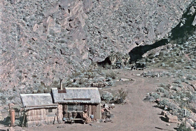 """William Pester on """"Hermit's Bench"""" at the Indian Canyons."""