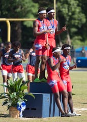 Runners compete in the finals of the Region 1-3A Track and Field Championships at Washington High School Saturday, April 27, 2019.