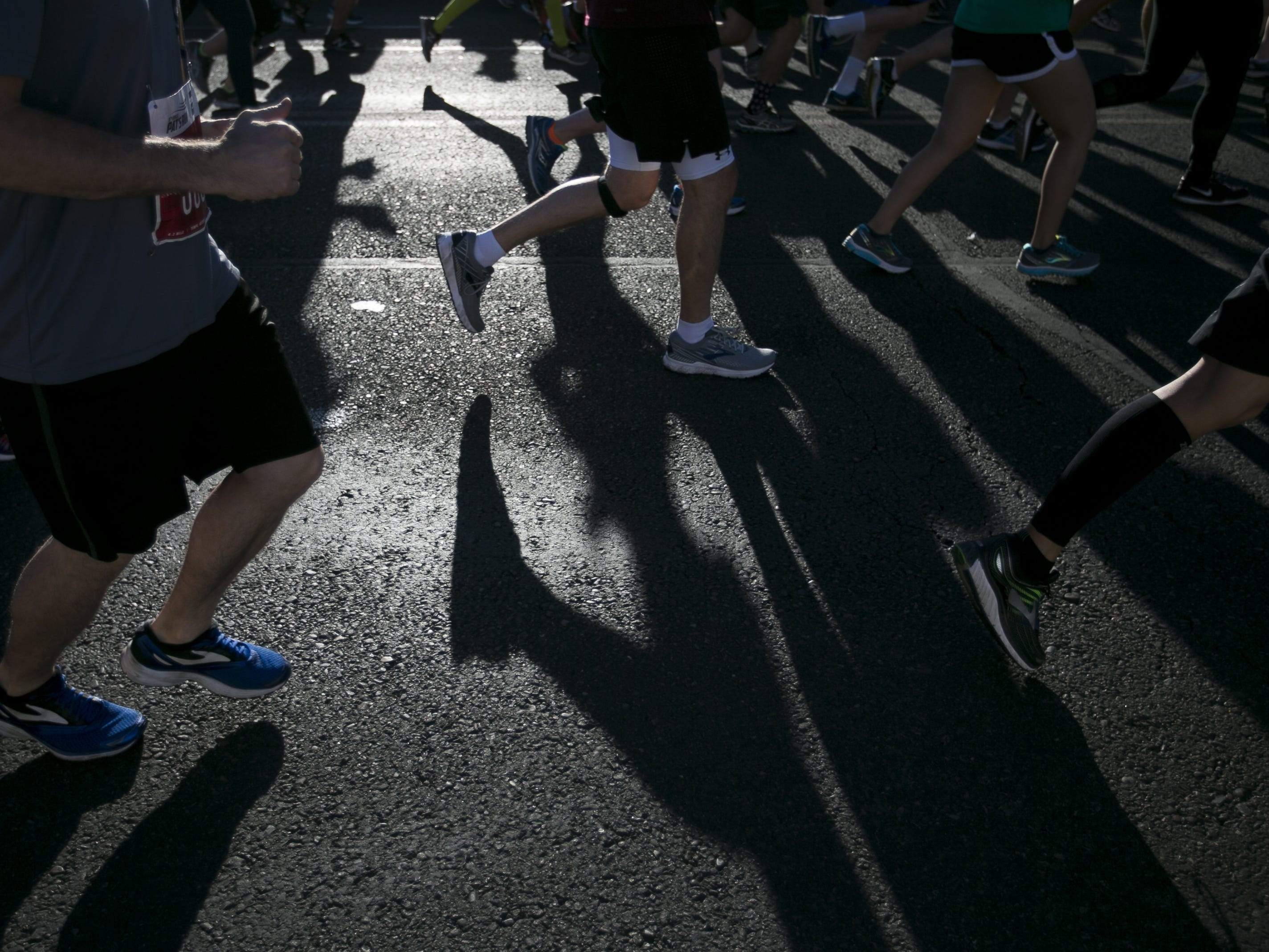 Participants leave the starting line in Pat's Run 2019 in Tempe on April 27, 2019.