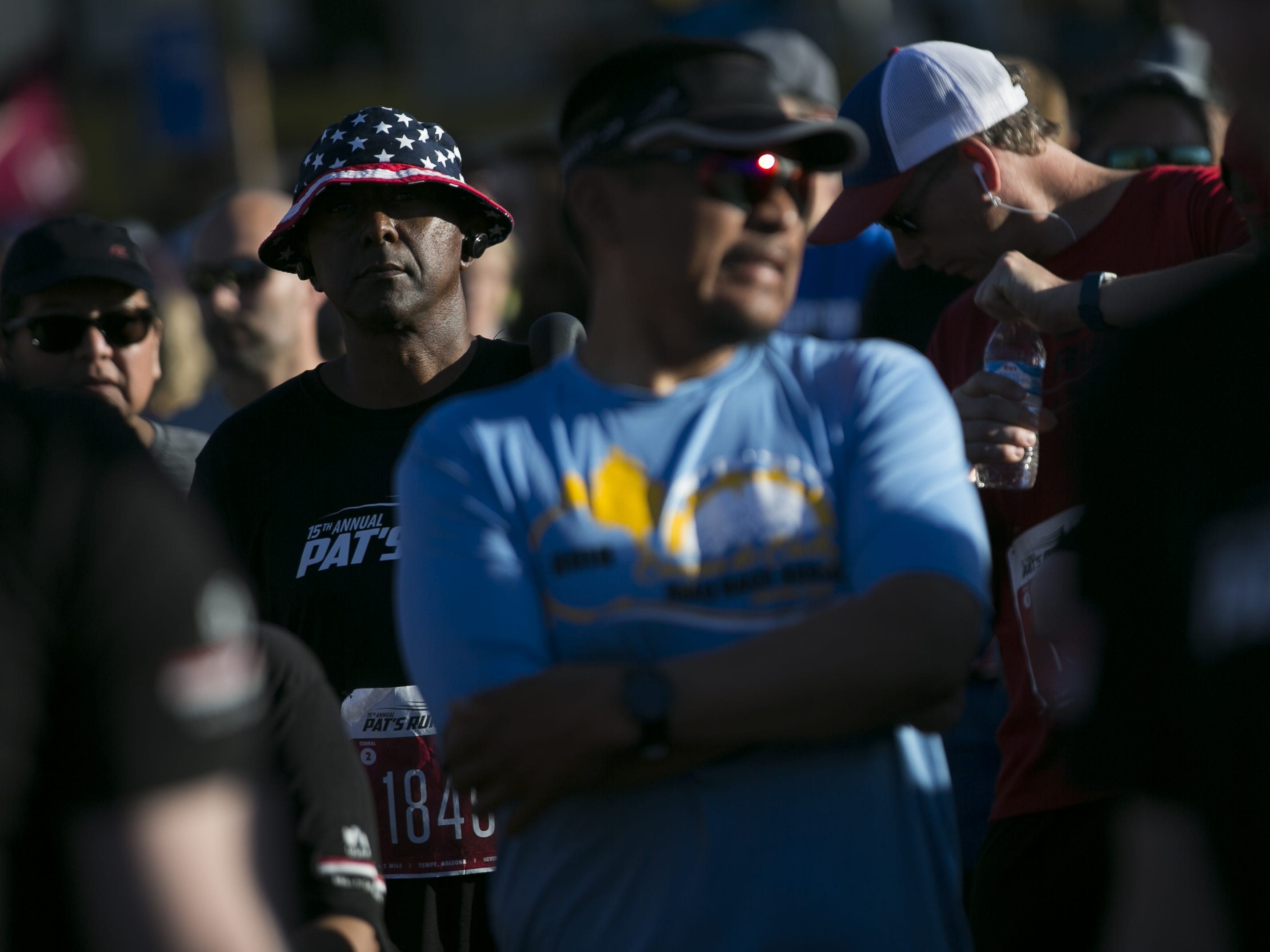 Runners wait to participate in Pat's Run 2019 in Tempe on April 27, 2019.