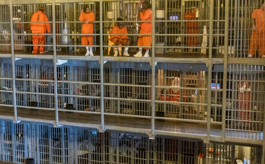 Inmates in their cells at Arizona State Prison Complex in Florence.