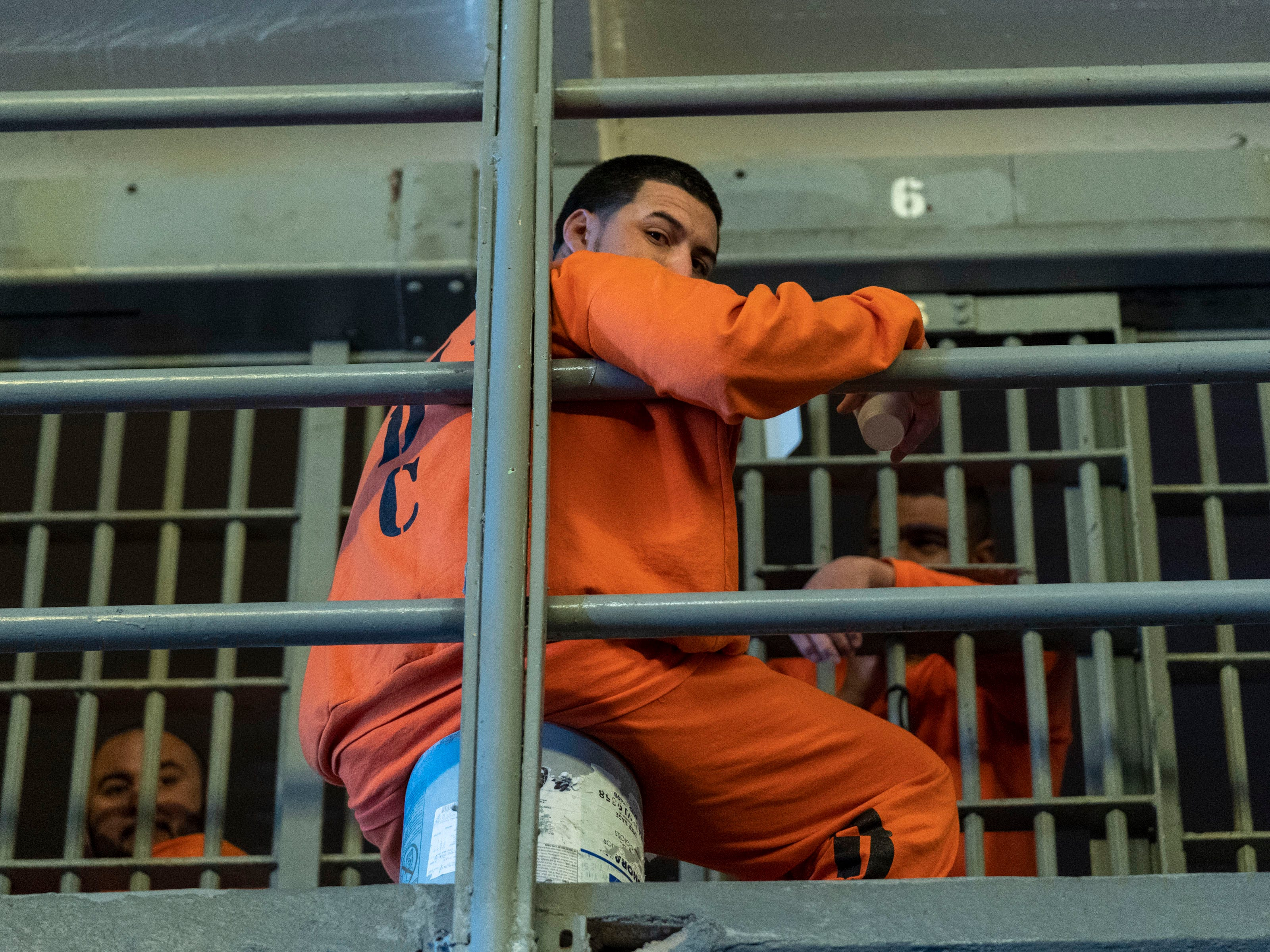 Inmate in his cell at Arizona State Prison Complex in Florence.