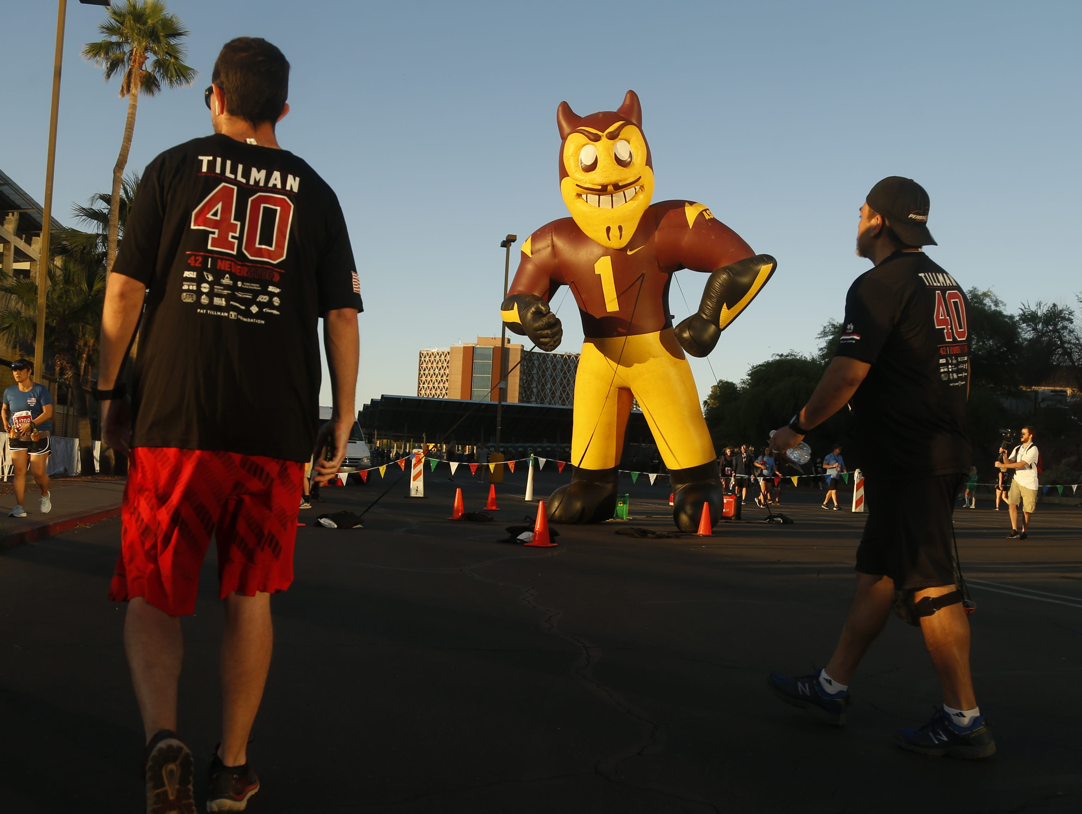 A large blow-up Sparky, the ASU mascot, sits outside the race start before Pat's Run 2019 in Tempe, Ariz. on April 27, 2019.