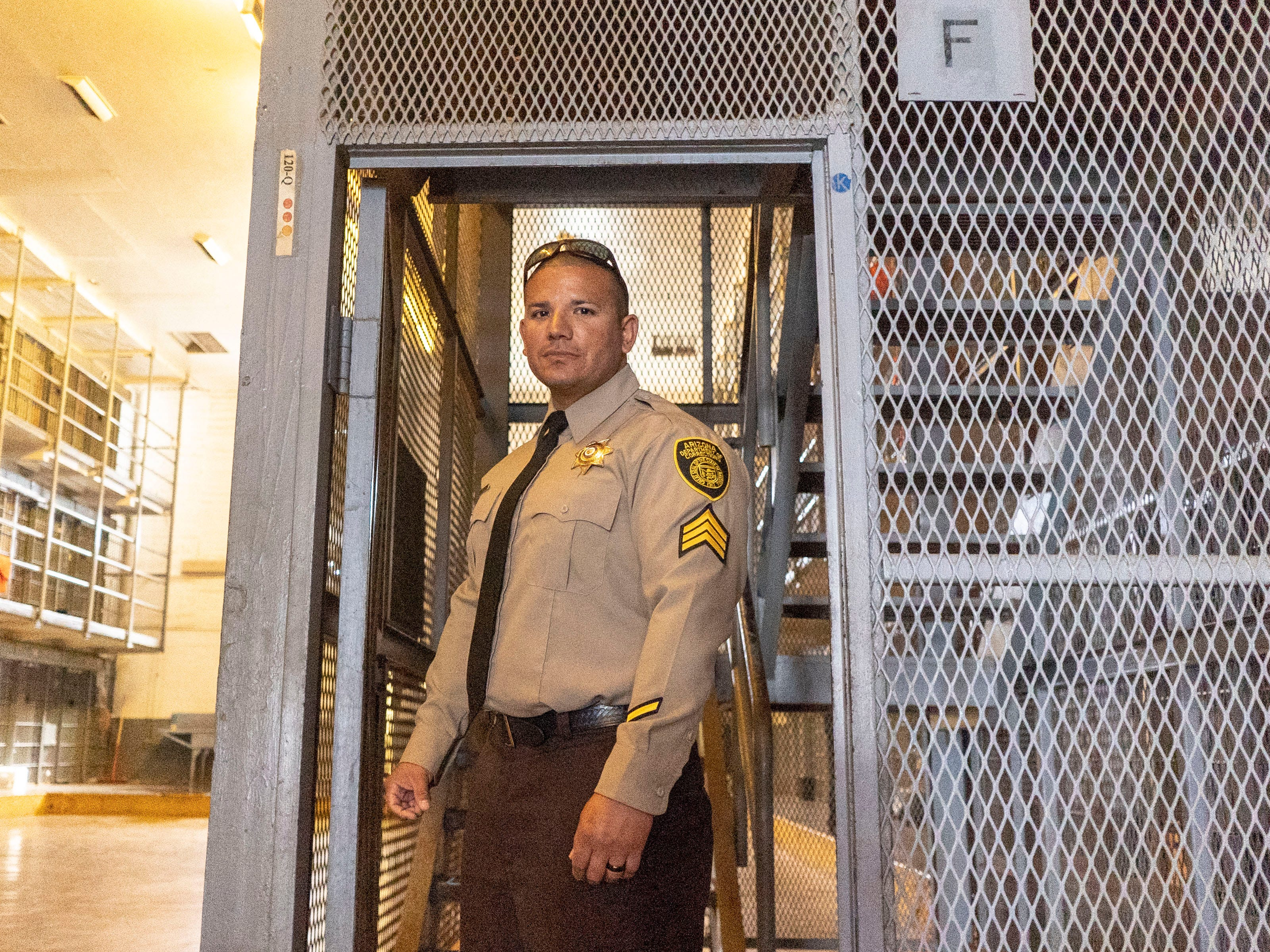 Marcus Sandoval oversees officers who guard death row inmates at the Central Unit of the Arizona State Prison Complex in Florence.