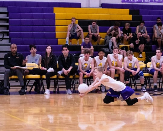 Mesa boys volleyball plays in game during 2019 season.