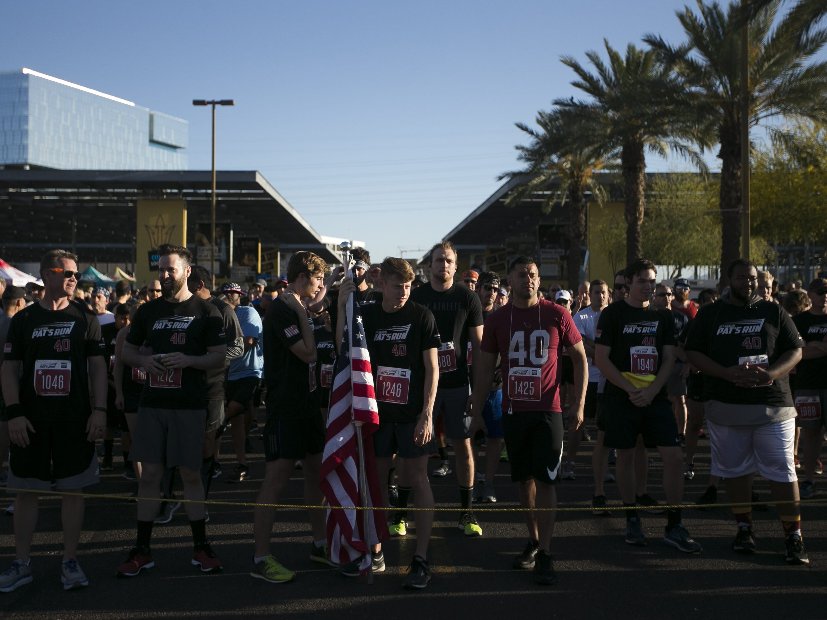 Runners wait for Pat's Run 2019 to start in Tempe on April 27, 2019.