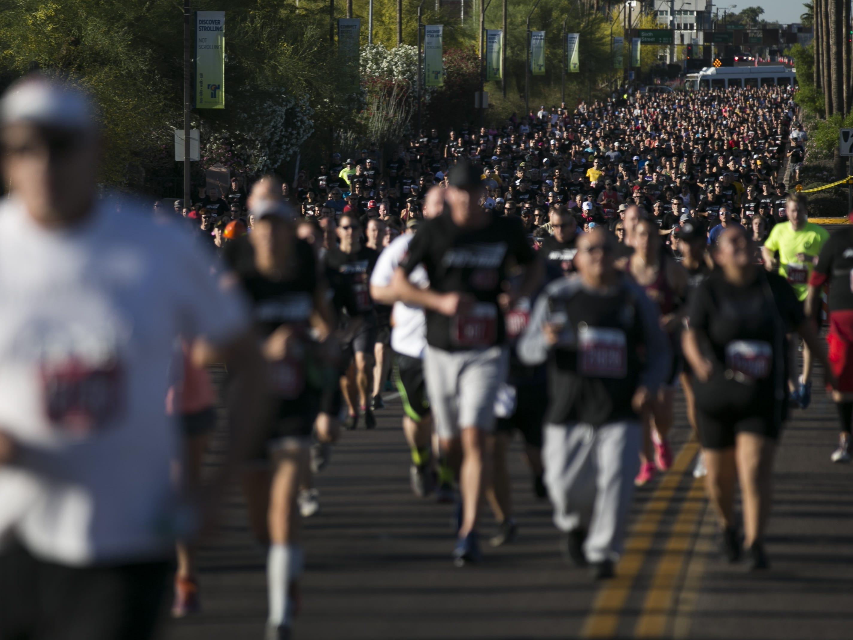 Runners participate in Pat's Run 2019 in Tempe on April 27, 2019.