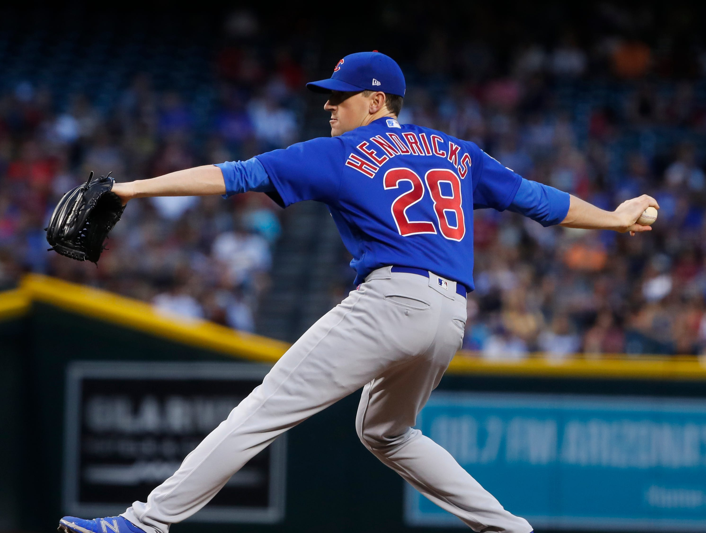 Cubs' Kyle Hendricks (28) pitches in the first inning gains the Diamondbacks during the first inning at Chase Field in Phoenix, Ariz. on April 26, 2019.