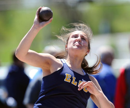 Elco's Ryelle Shuey set a new county meet record in the shot put on Saturday with a heave of 41 feet, 3 inches.