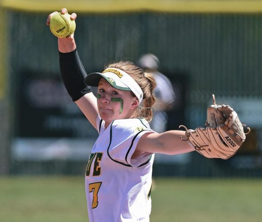 Manoue freshman Rylee Wyman pitches against McQueen on Tuesday.