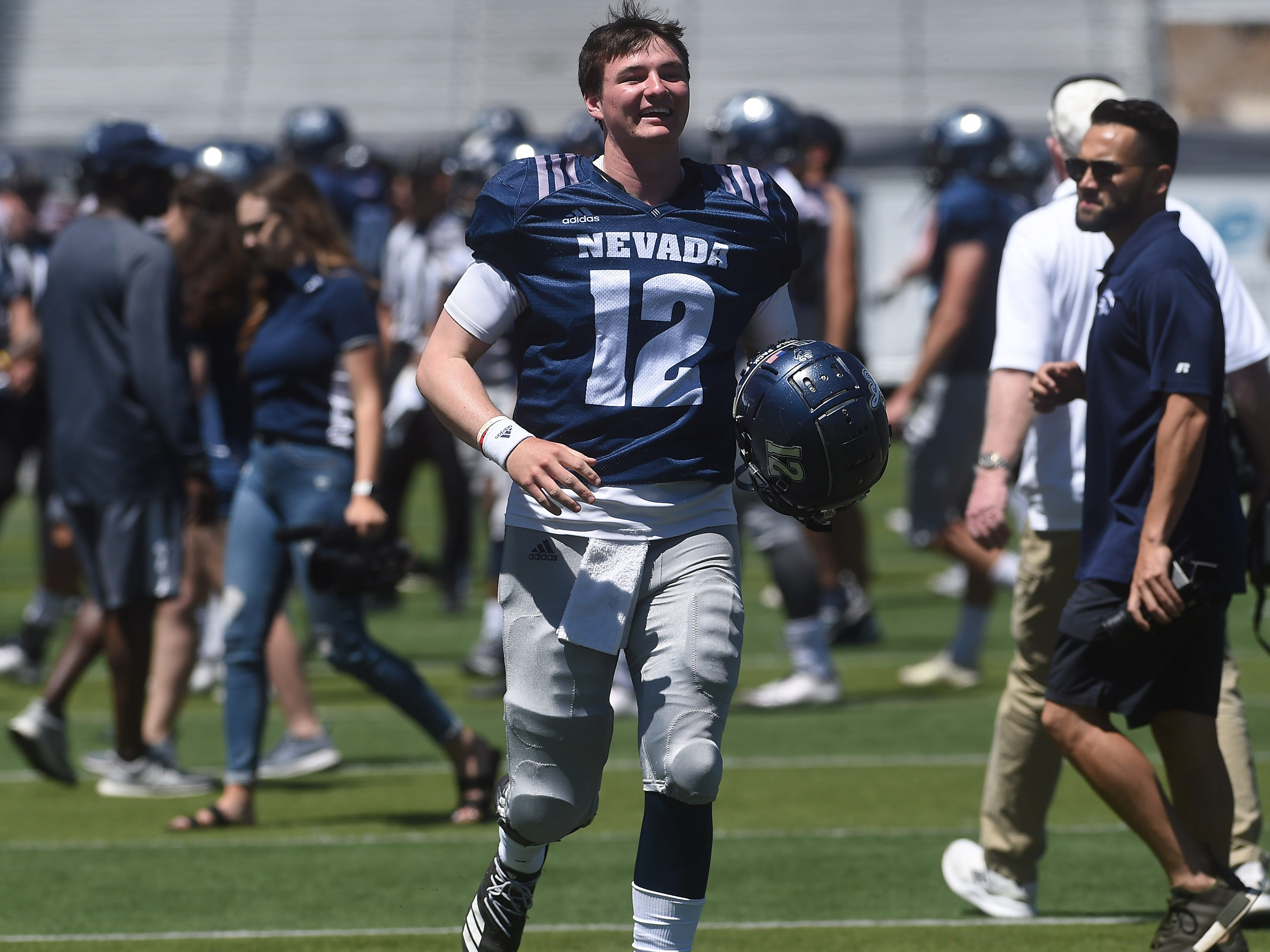 Quarterback Carson Strong participates during Nevada Football's annual spring game at Mackay Stadium in Reno on April 27, 2019.