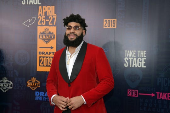 Cody Ford (Oklahoma) on the red carpet prior to the first round of the 2019 NFL Draft in Downtown Nashville. The Buffalo Bills drafted Ford with the 38th overall pick (second round) in the 2019 NFL Draft.