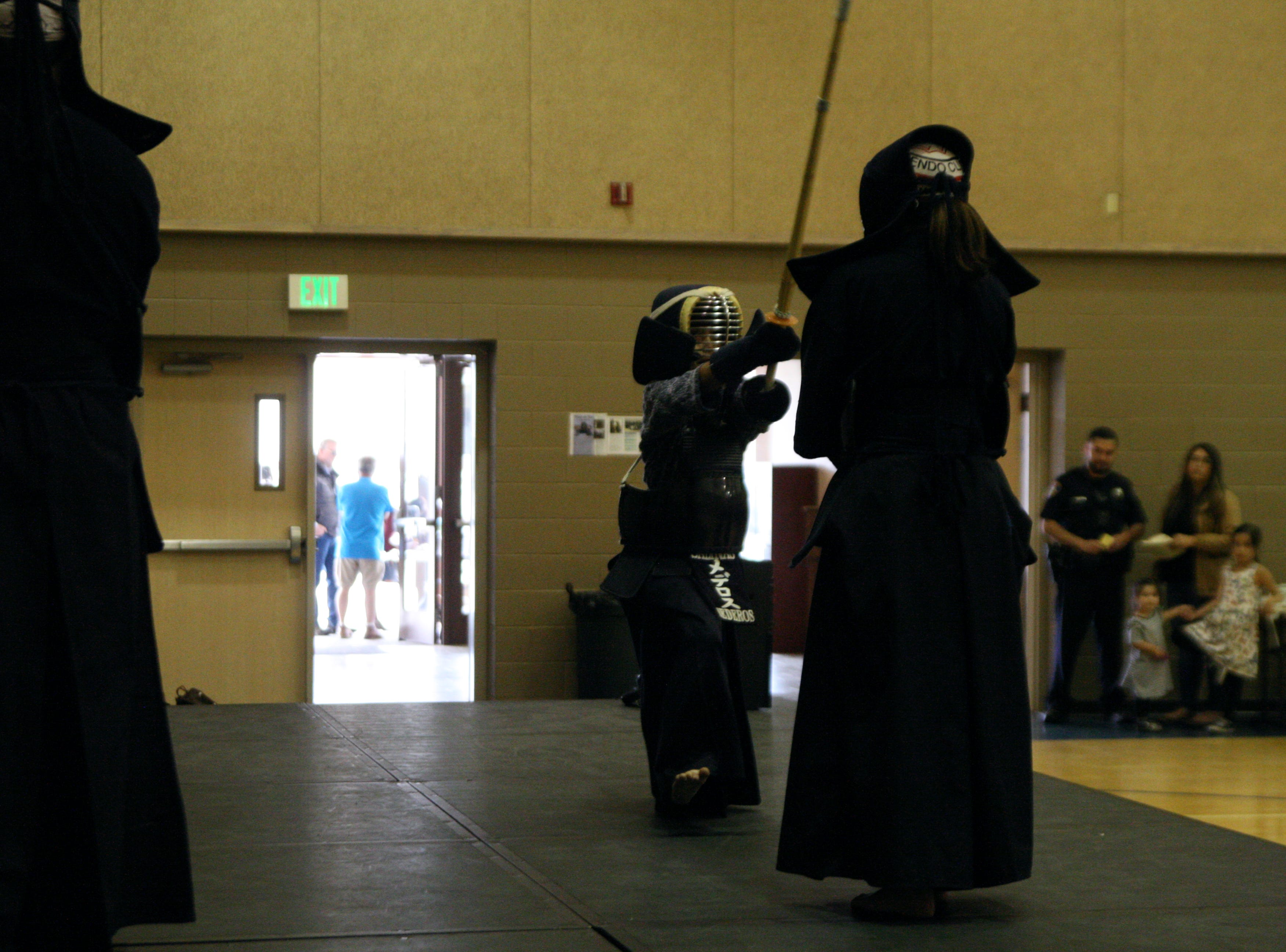 The children must earn every piece of gear they are wearing, carefully learning footwork before they are ever allowed to use the bamboo staffs in Kendo. April 27, 2019.
