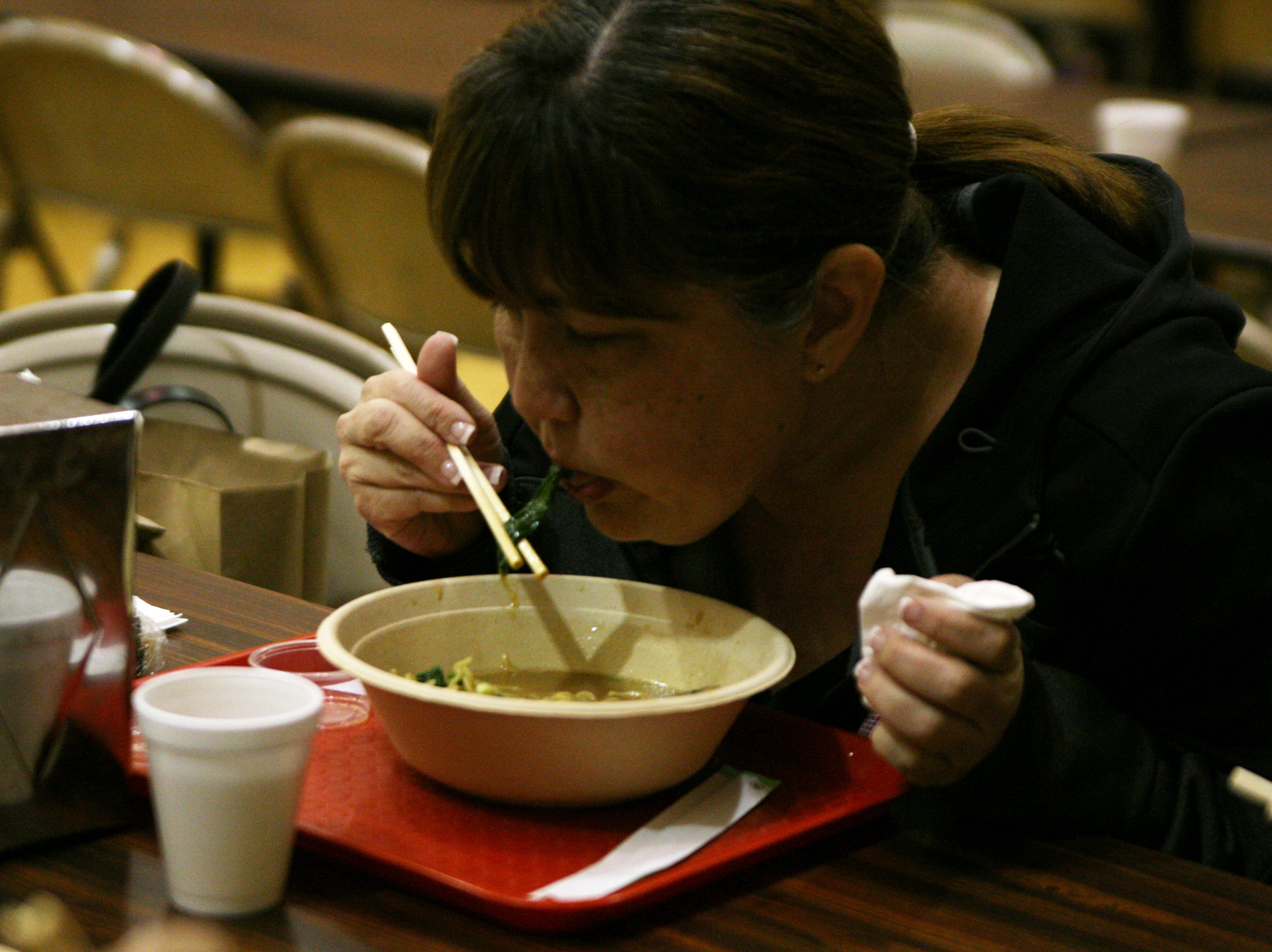 Connie Grantham chows down on some seaweed found in her ramen Saturday. April 27, 2019.