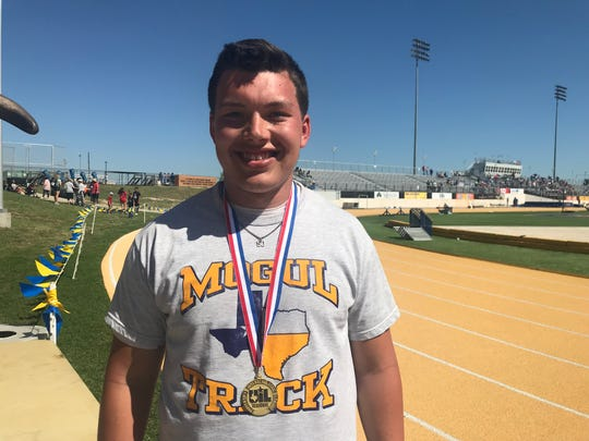 Munday High School's Kaven Lumsden won the boys shot put competition at the Region II-1A Track and Field Championships Friday at Angelo State University's LeGrand Stadium.