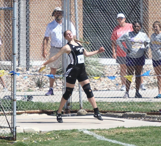 Water Valley High School's Kendra Hoover won the girls discus throw at the Region II-1A Track and Field Championships April 27, 2019, at Angelo State University.