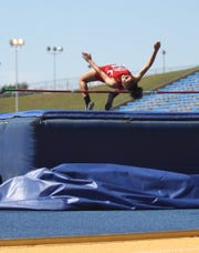 Knox City's Mona Hacker competes in the girls high jump at the Region II-1A Track and Field Championships Saturday, April 27, 2019, at Angelo State University.