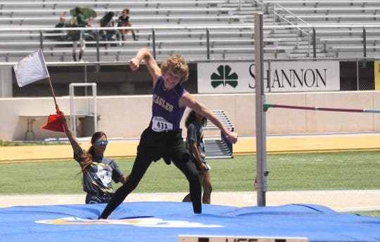 Sterling City's Michael McGuire celebrates clearing a personal-best in the boys high jump at the Region II-1A Track and Field Championships Saturday, April 27, 2019, at Angelo State University.