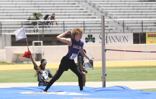 Sterling City's Michael McGuire celebrates during the boys high jump at the Region II-1A Track and Field Championships Saturday, April 27, 2019, at Angelo State University.