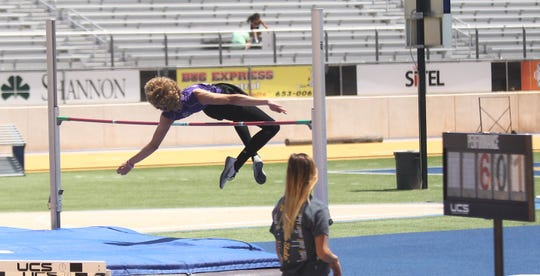 Sterling City's Michael McGuire clears the bar during the boys high jump competition at the Region II-1A Track and Field Championships Saturday, April 27, 2019, at Angelo State University.