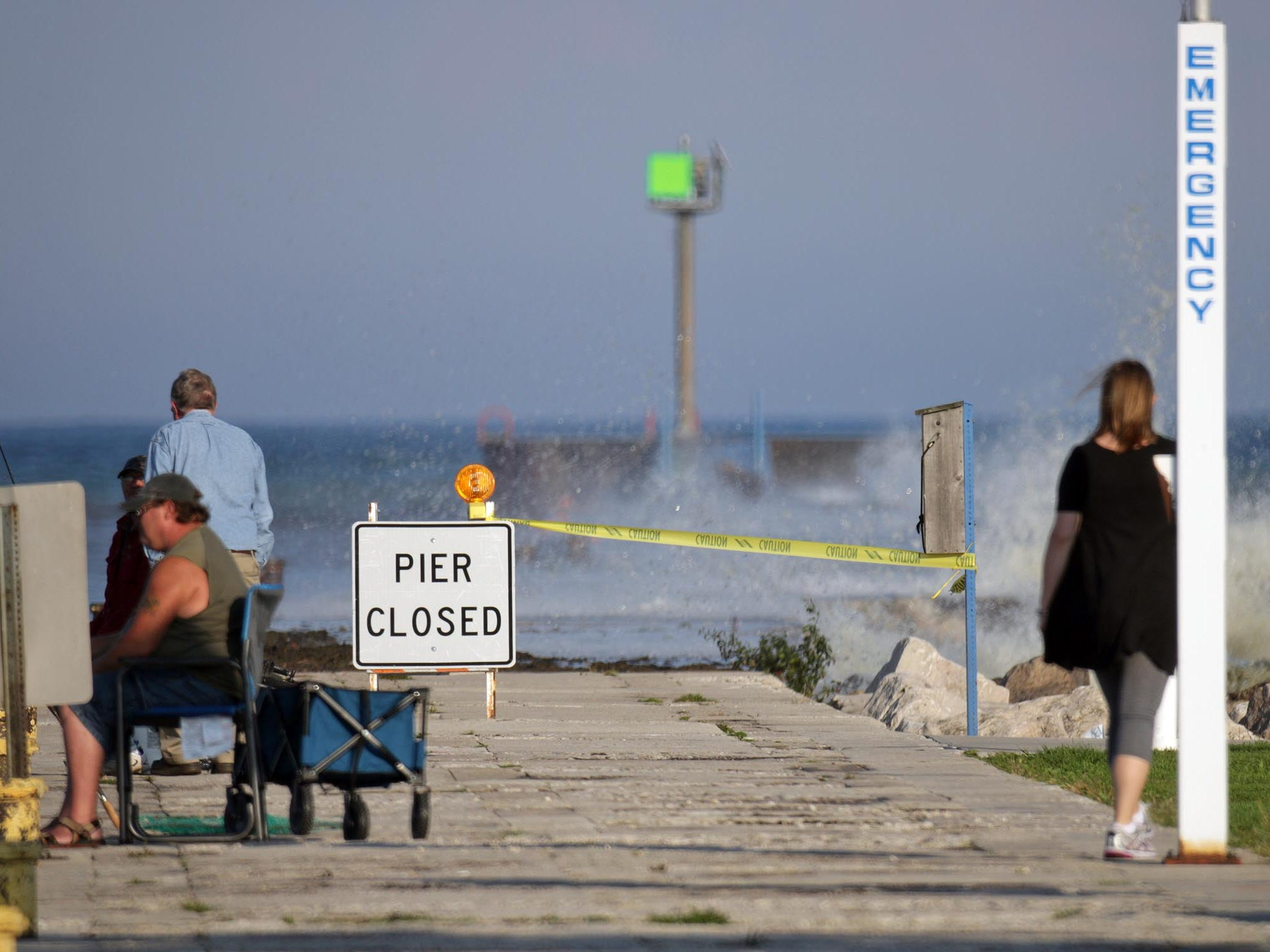 Strong Lake Michigan waves caused officials to close off the South Pier on Oct. 5, 2016, in Sheboygan, Wis.  FILE PHOTO