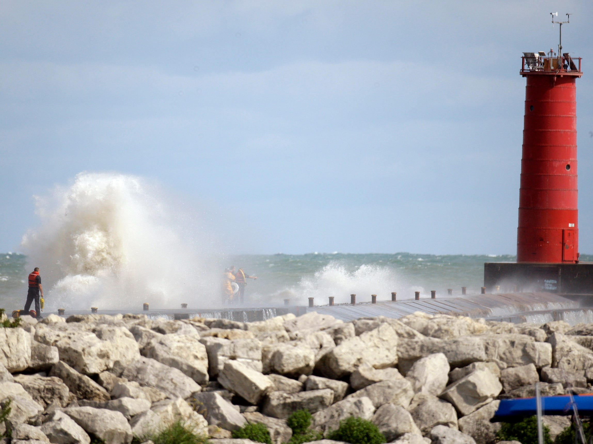 An overall photo at the scene of the search operations at North Pier on Aug. 10, 2012, in Sheboygan, Wis.  FILE PHOTO