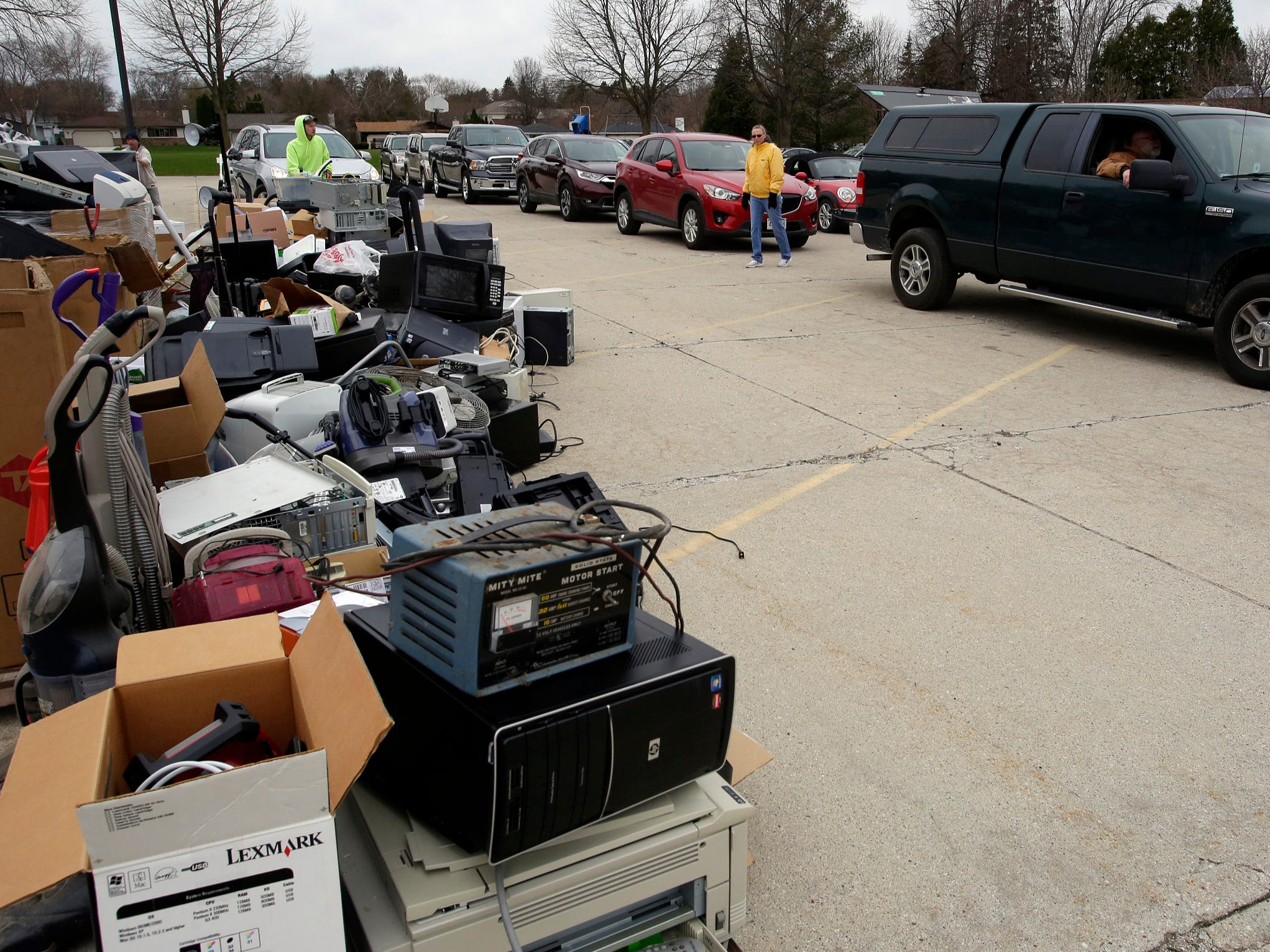 A scene from the recycling event at Ebenezer United Church of Christ, Saturday, April 27, 2019, in Sheboygan, Wis.