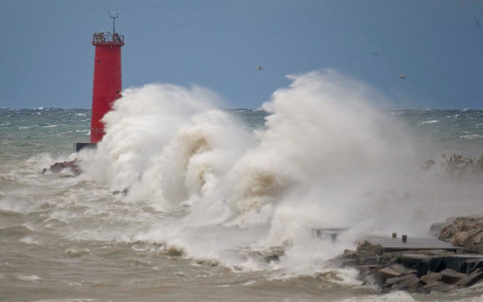 d5db875b36 Strong winds blow nearly as tall as the Sheboygan lighthouse Oct. 19