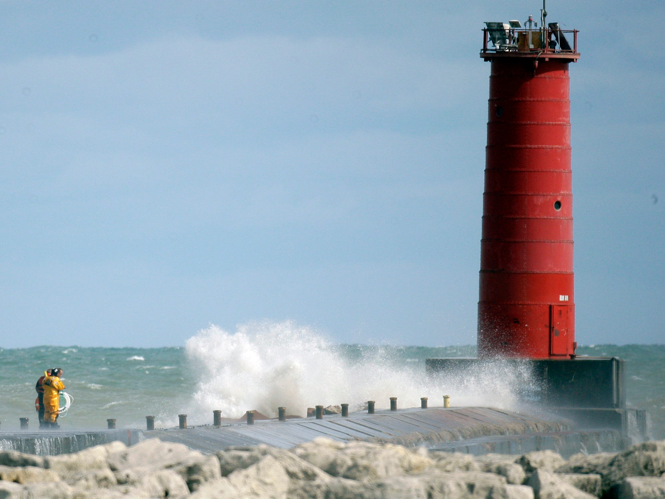 An overall at the scene of the search operations at North Pier on Aug. 10, 2012, in Sheboygan, Wis.  FILE PHOTO
