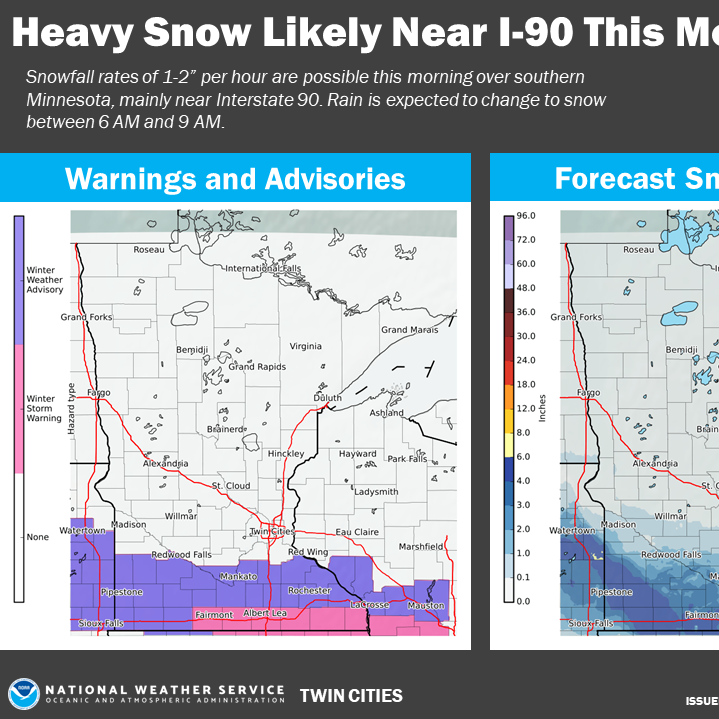 Winter storm warning slides south of St. Cloud