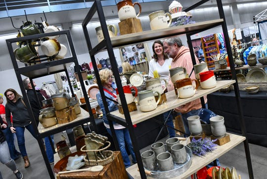 Handmade pottery is on display during the Midwest Handmade Minnesota Artisan Maker Fair Saturday, April 27, at the River's Edge Convention Center in St. Cloud.