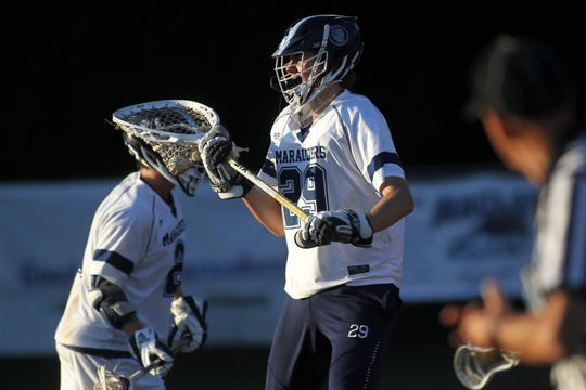 Maclay goalie Jackson Hugill looks for an outlet pass after a save as Maclay beat Gulf Breeze 18-8 in a lacrosse regional quarterfinal playoff game on April 26, 2019.
