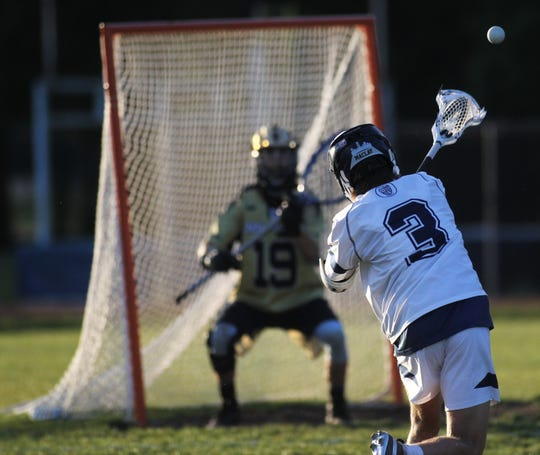 Maclay freshman Carson Rowe takes a shot on goal as Maclay beat Gulf Breeze 18-8 in a lacrosse regional quarterfinal playoff game on April 26, 2019.