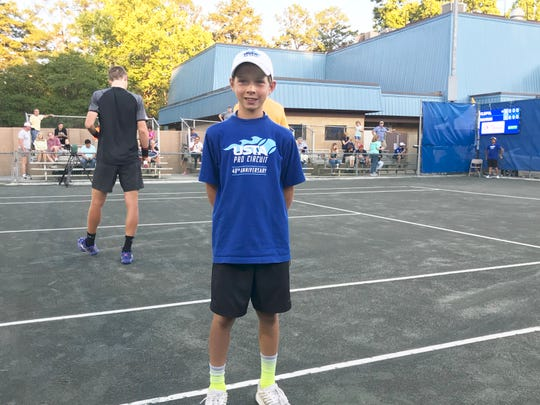 Gabe Garcia of Tallahassee is a ball boy at the Tallahassee Tennis Challenger. This is his third year working in this capacity.