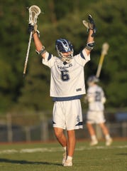 Maclay junior Matthew Winegardner celebrates a goal as Maclay beat Gulf Breeze 18-8 in a lacrosse regional quarterfinal playoff game on April 26, 2019.