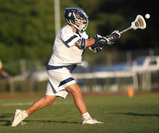 Maclay junior Matthew Winegardner rips a shot for a goal as Maclay beat Gulf Breeze 18-8 in a lacrosse regional quarterfinal playoff game on April 26, 2019.