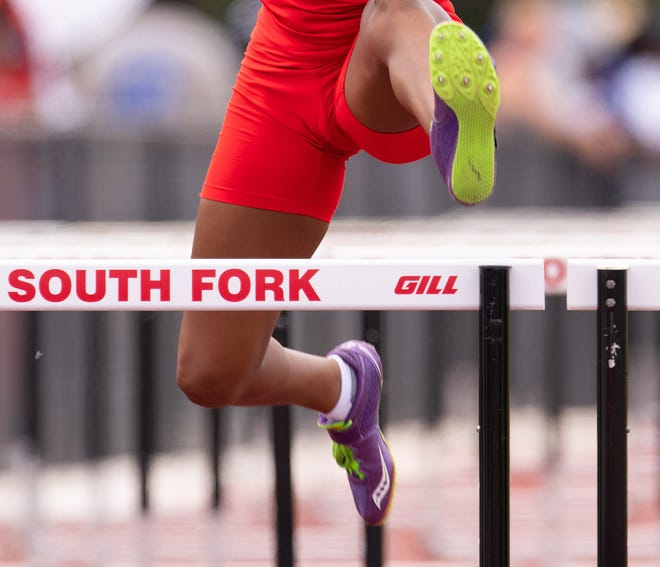 Student athletes compete in the 100 meter hurdle prelims at the Class 3A and 4A regional track meet Saturday, April 27, 2019, at South Fork High School in Tropical Farms. A 2021 bill in the Florida Legislature would ban biological boys who are transgender from competing in girls sports.