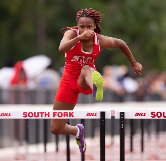 Vero Beach's Vonisha Kaigler competes in the 100 meter hurdle prelims at the Class 3A and 4A regional track meet Saturday, April 27, 2019, at South Fork High School in Tropical Farms.