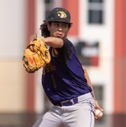 Fort Pierce Central pitcher Dominick Thompson throws against Treasure Coast during the first inning of the high school baseball game Friday, April 26, 2019, at Treasure Coast High School in Port St. Lucie.