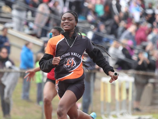 Spring Valley's Anaika Louis crosses the finishline on the anchor lag of the girls 4x100-meter relay at the Gold Rush Invitational track & field meet at Clarkstown South High School in West Nyack on Saturday, April 27, 2019.